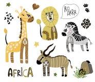 Gullig Afrika vektoruppsättning stock illustrationer