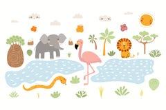 Gullig afrikansk djurillustration vektor illustrationer