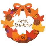 Gullig allhelgonaaftonkrans och logo lyckliga halloween royaltyfri illustrationer