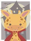 Gullig allhelgonaaftonvektorkonst för barn, giraffuppklädd som vampyr med huggtänder och röd cloa stock illustrationer