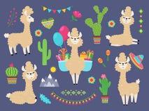 Gullig Alpaca Den roliga tecknad filmlaman, Peru behandla som ett barn lamor och kaktusblommor Lösa alpacasdjurtecken stock illustrationer