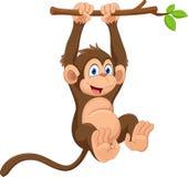 Gullig apa för tecknad film som hänger på trädfilial Roligt och förtjusande Arkivbild