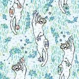 Gullig Aqua Cartoon Diving Cats Vector modell royaltyfri illustrationer