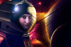 Gullig astronaut stock illustrationer