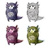 Gullig axolotl för att färga royaltyfri illustrationer