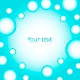 Gullig bakgrund av blått bubblar för text Arkivbilder