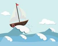 Gullig bakgrund av fartyget och vågor Royaltyfri Bild