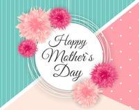 Gullig bakgrund för lycklig dag för moder s med blommor vektor vektor illustrationer