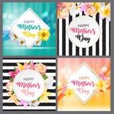 Gullig bakgrund för lycklig dag för moder s med kort för blommasamlingsuppsättning också vektor för coreldrawillustration Royaltyfri Bild