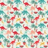 Gullig bakgrund med dinosaurier och frukter Arkivbild
