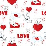 Gullig bakgrund med hundkapplöpning och hjärtor för valentin dag, sömlös modell Royaltyfria Bilder