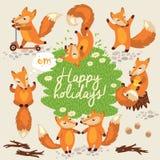 Gullig bakgrund med rävar i vektor Royaltyfri Fotografi