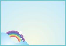 Gullig bakgrund med regnbågen Royaltyfria Bilder