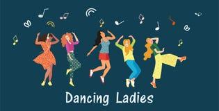 Gullig banerdans för flickor Kvinnor dansar och flyttar sig till musiken i klubban på ett parti eller en festival joyful sinnesrö stock illustrationer