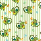 Gullig barnbakgrund med den sömlösa modellen för grön unik gullig tecknad film med draken Illustration för fantasibarn` s Royaltyfri Bild