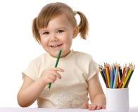 gullig barnfärg tecknar blyertspennor royaltyfri bild