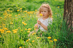 Gullig barnflicka på maskrosblommafält Arkivbild