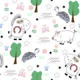 Gullig barnslig sömlös modell med roliga djur vektor illustrationer
