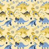 Gullig barnslig sömlös vektormodell med dinosaurier med ägg, dekoren och ord dino Rolig tecknad film dino Hand dragen klotterdesi royaltyfri illustrationer