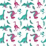 Gullig barnslig sömlös vektormodell med dinosaurier med ägg, växter Roliga tecknad filmdinos på vit bakgrund R?cka det utdragna k stock illustrationer