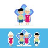 Gullig besvärad mormor och hennes stygga sonsonvektordesign vektor illustrationer
