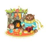 Gullig björn för liten ängel som sitter nära en spis vektor illustrationer
