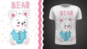 Gullig björn för nalle - idé för tryckt-skjorta vektor illustrationer