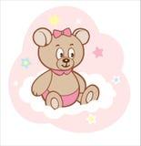 Gullig björn för tecknad filmnalleflicka på det vita molnet Royaltyfria Bilder