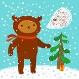 gullig björn greeting lyckligt nytt år för 2007 kort Arkivbild