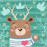 Gullig björn, hjorttecknad filmillustration stock illustrationer