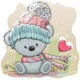 Gullig björn i en luva royaltyfri illustrationer