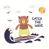 Gullig björn i sommar stock illustrationer