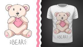 Gullig björn - idé för tryckt-skjorta royaltyfri illustrationer