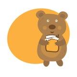 gullig björn med krukan av honung vektor Arkivfoton