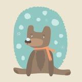 Gullig björn med snöflingor Royaltyfri Bild