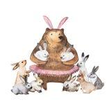 Gullig björn och hans lilla kaniner Hand dragen vattenfärgillustration stock illustrationer