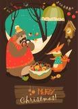 Gullig björn och räv som firar jul i håla royaltyfri illustrationer