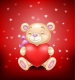 Gullig björn som rymmer röd hjärta stock illustrationer
