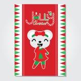Gullig björnflicka på den Jolly Christmas tecknad filmillustrationen för julkortdesign vektor illustrationer