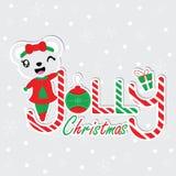 Gullig björnflicka på illustrationen för Jolly Christmas texttecknad film för julkortdesign stock illustrationer
