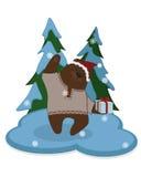 gullig björntecknad film Vinter Royaltyfri Illustrationer