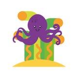 Gullig bläckfisk isolerad symbol Arkivbild