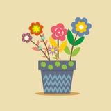 Gullig blå blomkruka vektor illustrationer