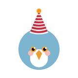 Gullig blå fågel med partihatten arkivfoton