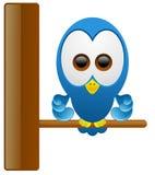 gullig blå filial för fågel Stock Illustrationer