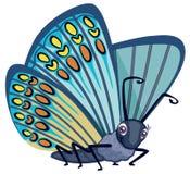 Gullig blå monarkfjäril med fläckar och den stora illustrationen för vektor för tecken för ögontecknad filmstil som isoleras på v vektor illustrationer