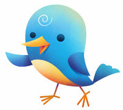 Gullig blå orange fågel Royaltyfria Bilder