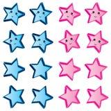 Gullig blå rosa färguppsättning för stjärna vektor illustrationer