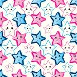Gullig blå rosa sömlös modell för stjärna royaltyfri illustrationer