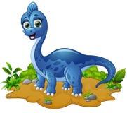 Gullig blå dinosaurietecknad film Royaltyfri Bild